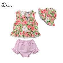 0aa4a9da44f6a 2018 Brand New Newborn Infant Kid Baby Girl Pink Floral Tankini Swimsuit  Swimwear Beachwear Swimming Crop Top Shorts Cap 3Pc Set