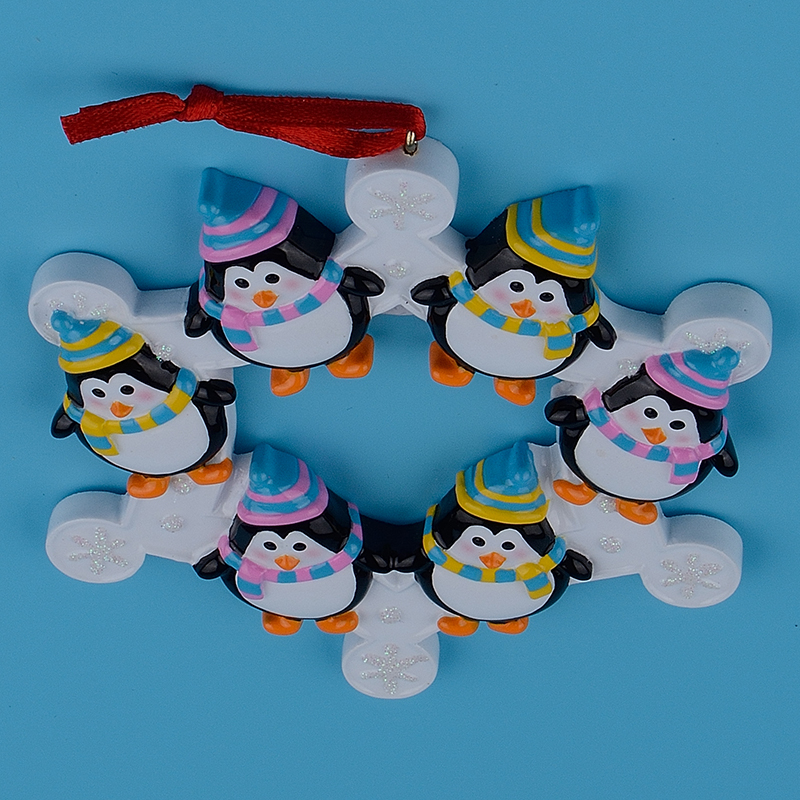 Familia de 6 pingüinos Snowflake de Polyresin, adornos de árbol de - Para fiestas y celebraciones - foto 5
