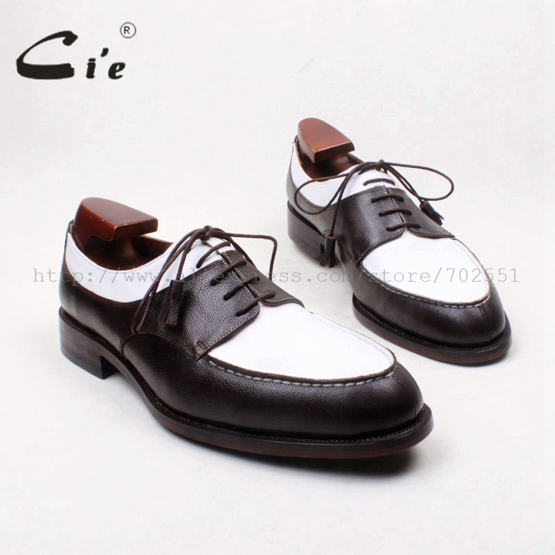 cie white and black custom handmade pure genuine calf leather round toe shoe men's dressclassic derby goodyear welted shoe D212
