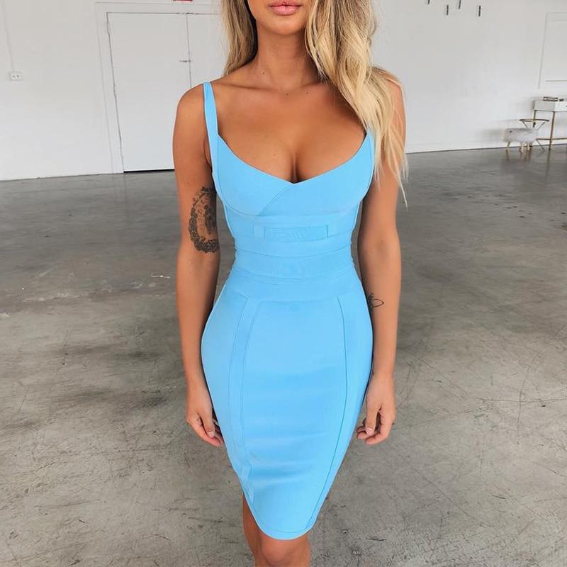 Ocstrade Vestidos Bandage 2019 New Arrivals Aqua Blue Spaghetti Strap Summer Sexy Women Bandage Dress Bodycon