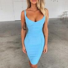 Ocstrade Vestidos תחבושת 2020 חדש עזיבות אקווה כחול ספגטי רצועת הקיץ סקסי נשים תחבושת שמלת Bodycon Clubwear מפלגה