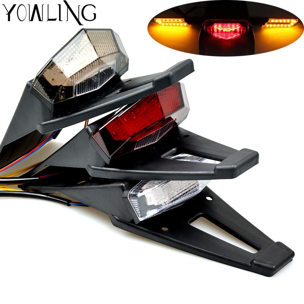 Motorcycle Tail light Rear Fender License Plate Bracket Holder 12V LED Taillight Brake Lamp Universal For Enduro Off-Road Bike