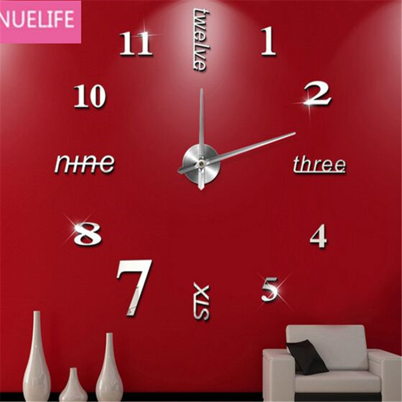 DIY3D Acrylic Digital Wall clock Mirror Wall Stickers Parlor Bedroom Office TV Sofa Background Wall Decoration Wall Stickers N5