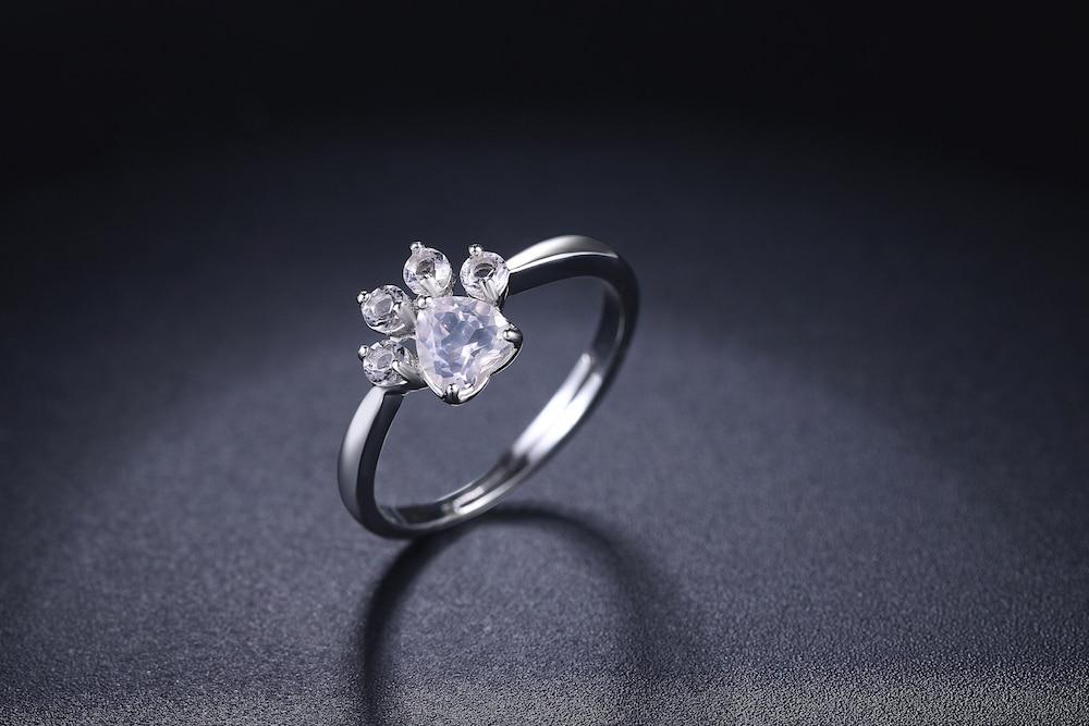 LAMOON 925 Sterling Silver Ring For Women Bear Paw Rose Quartz Gemstone 18K Rose Gold Adjustable Ring Fine Jewelry RI027-2