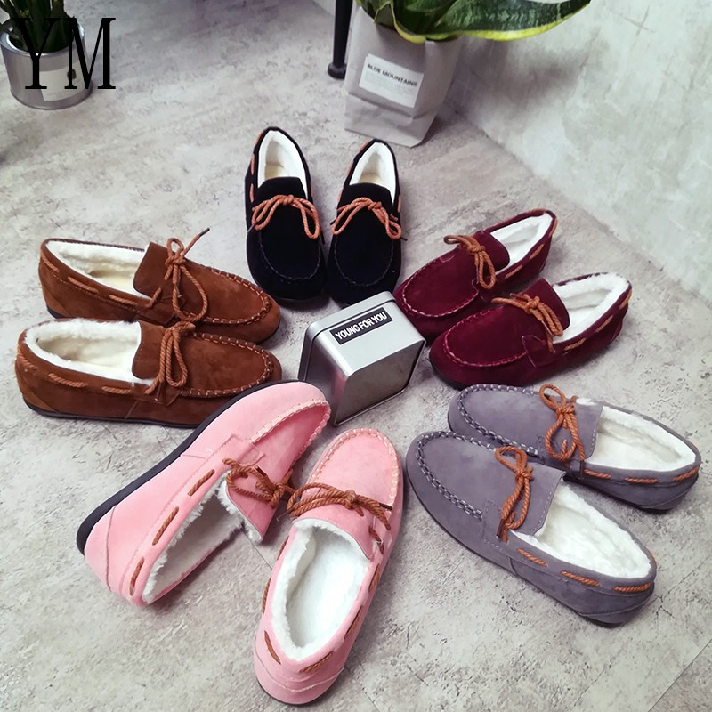 H 2018 Winter Women flats Warm fur Winter Boots slip on loafers flat Comfortable Winter Women Casual Shoes plus size dropshipping women flats shoes slip on with fur pointed toe winter oxfords shoes for women loafers shoes plus size 41 42 43