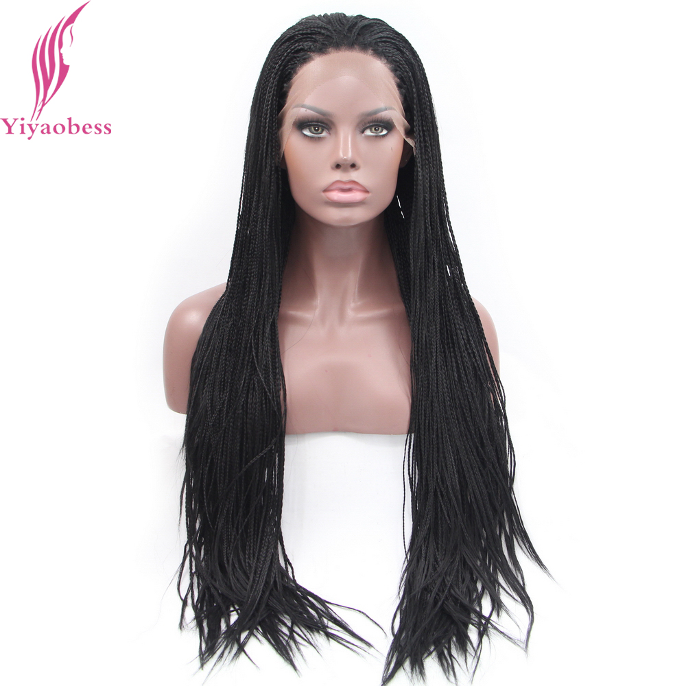 Yiyaobess 1# African American Braided Lace Wig Heat Resistant Synthetic Frontal Hair Long Micro Braided Wigs For Black Women