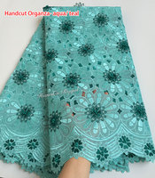 Cutout Holes Beaded Handcut organza Lace African Swiss lace voile fabric high quality 5 yards/PC