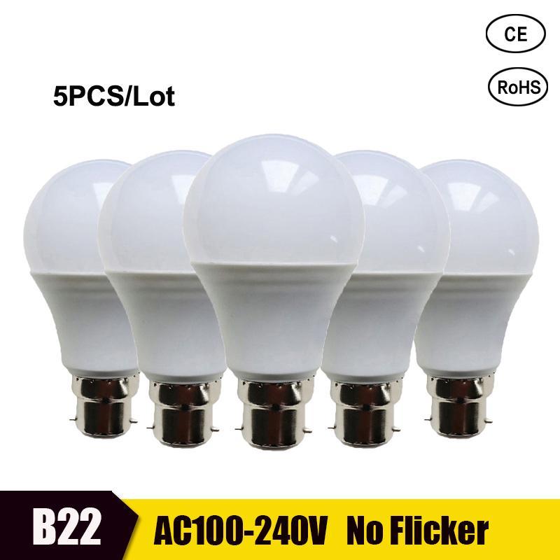 5pcs LED Bulb Lamp B22 Lampada Lampe Bombilla Lamparas Led 3W 5W 7W 9W 12W 15W 18W 110V 220V Cold White Warm White