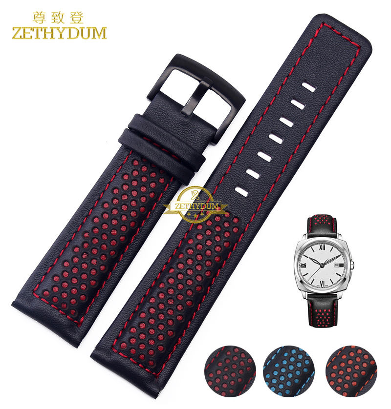 Genuine Leather Bracelet Watchband 22mm mens watch strap black with red blue stitched Breathable wrist watches belt accessories high quality genuine leather watchband 22mm brown black wrist watch band strap wristwatches stitched belt folding clasp men