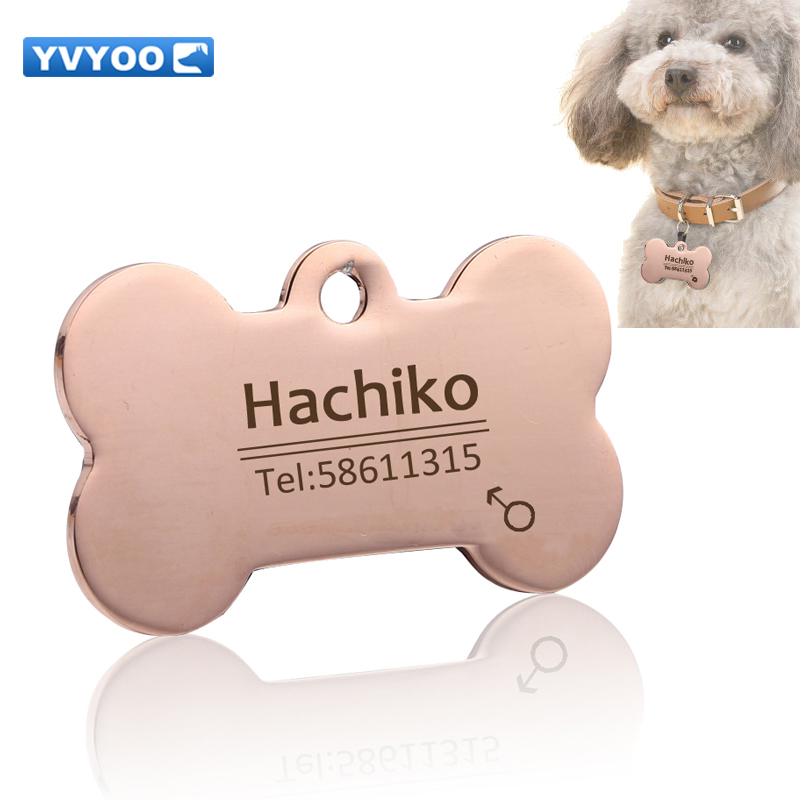 YVYOO Dog collar Stainless steel dog cat tag Free engraving Pet Dog collar accessories ID tag name telephone Personalized<