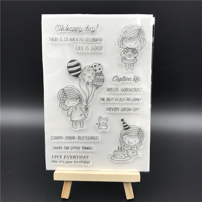 Birthday Girl Transparent Clear Silicone Stamp/Seal for DIY scrapbooking/photo album Decorative clear stamp sheets A522 lovely animals and ballon design transparent clear silicone stamp for diy scrapbooking photo album clear stamp cl 278