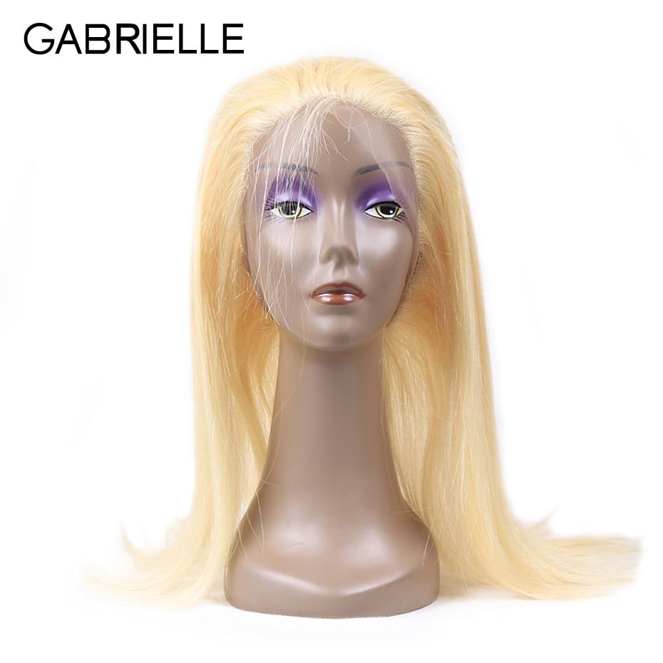Габриэль светлые волосы 613 цвет бразильские Прямые 360 Кружева Фронтальная застежка бесплатная часть 100% Номера для человеческих волос