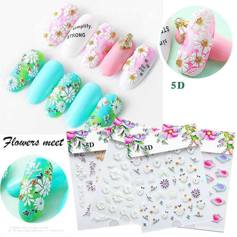 5D Acrylic Engraved nail art sticker colorful  flowers leaves Template Decals Tool DIY Nail Decoration Tools Z0133-in Stickers & Decals from Beauty & Health