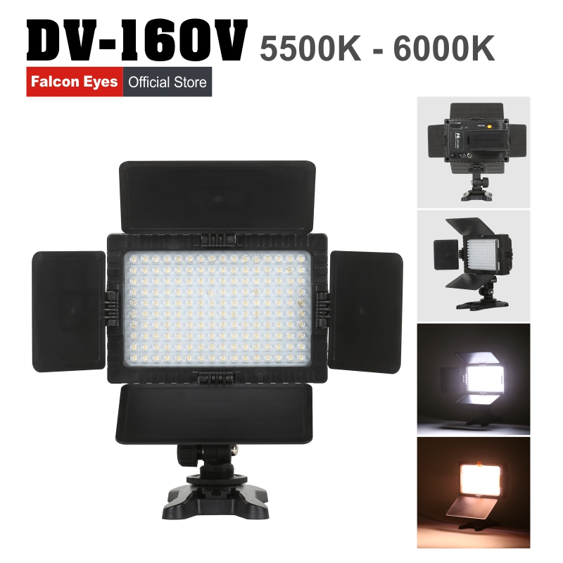 FALCON EYES High CRI95 160 LED Video Light On Camera Fotografia for Canon Nikon Sony Panasonic DV Camcorder DSLR Camera DV-160V hot sale dof hvr d160 5600k 160 leds bandoor filters ball mount led on camera video light for dv camcorder and dslr camera