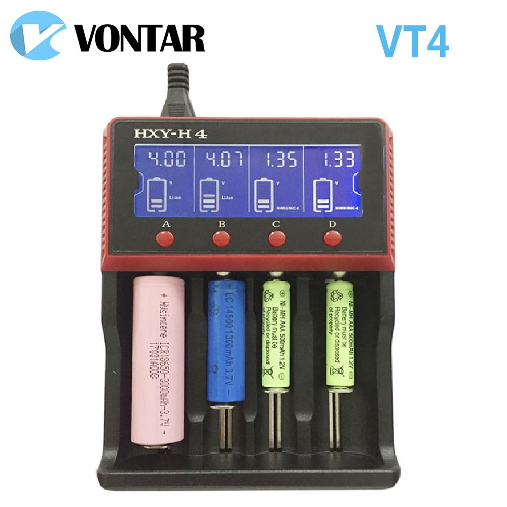 VONTAR VT4 4 slots LCD Battery Charger Rechargeable Battery For NiMH Ni-CD LiFePo4 AA AAA 26650 14500 22650 18650 PK D4 D2 nitecore i2 multi function battery charger for 26650 22650 18650 17670 aa more black