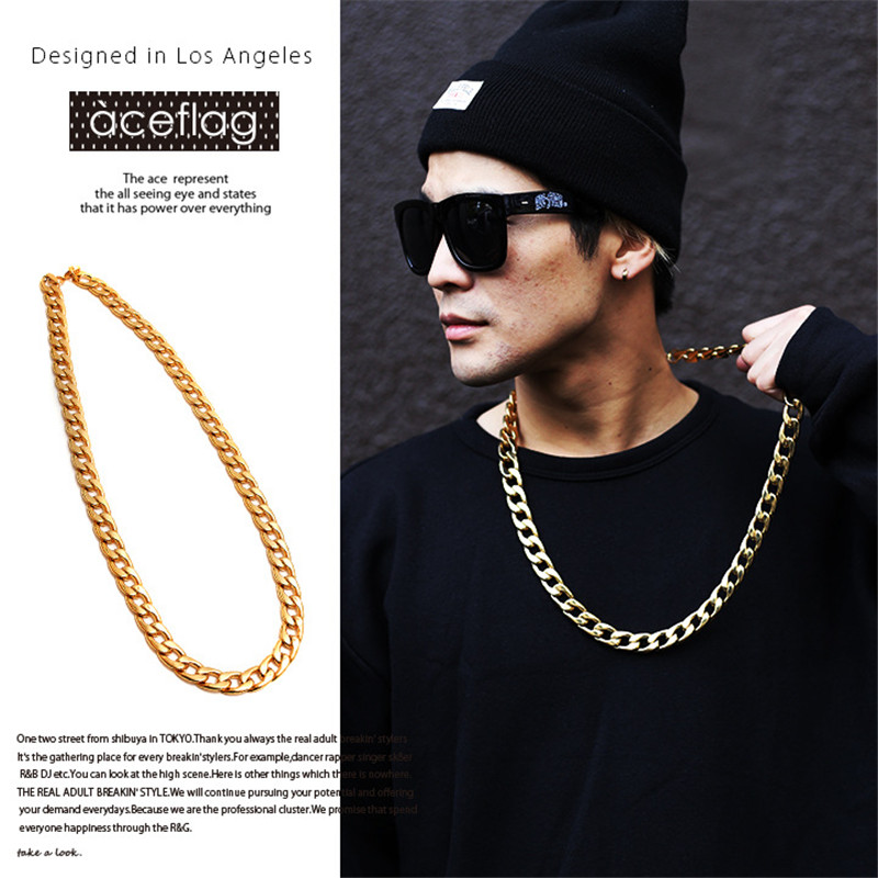 ER Women Hip Hop Gold Rapper Chain Neclace Hiphop Neckless Men Bling Bling Jewelry Neck Accessories Colar Masculina HN058
