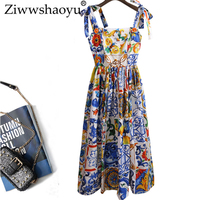 Ziwwshaoyu Europe Designer Summer Cotton Dress Women's High End Fashion Majolica Printed Spaghetti Strap Mid Calf Vestido