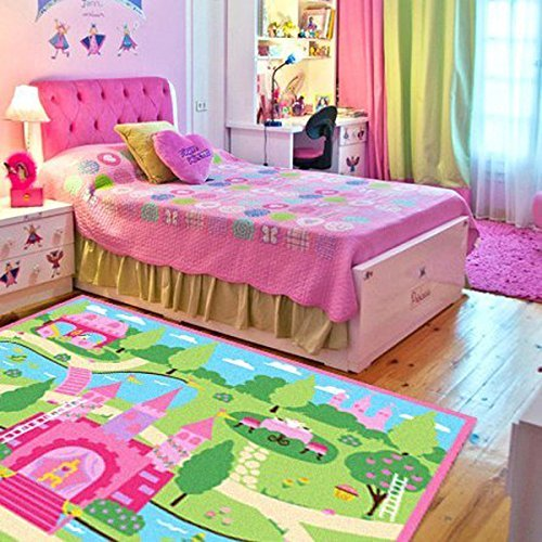 Pink Rug Girls Bedroom Rugs Cartoon Castle Kids Play Mat Bedroom