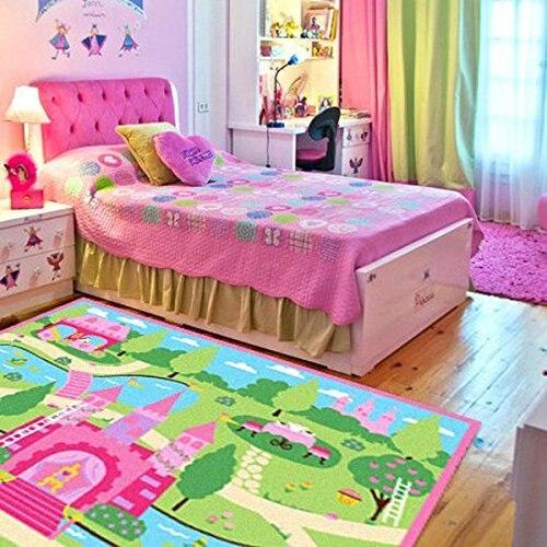 Tapis rose filles chambre tapis dessin animé château enfants jouer tapis chambre tapis de sol en Nylon bande dessinée tapis enfants salon tapis