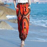 2017 Women Beach Boho Pants Summer High Waist Bohemia Bloomers Red Pant Casual Printed Loose Trousers