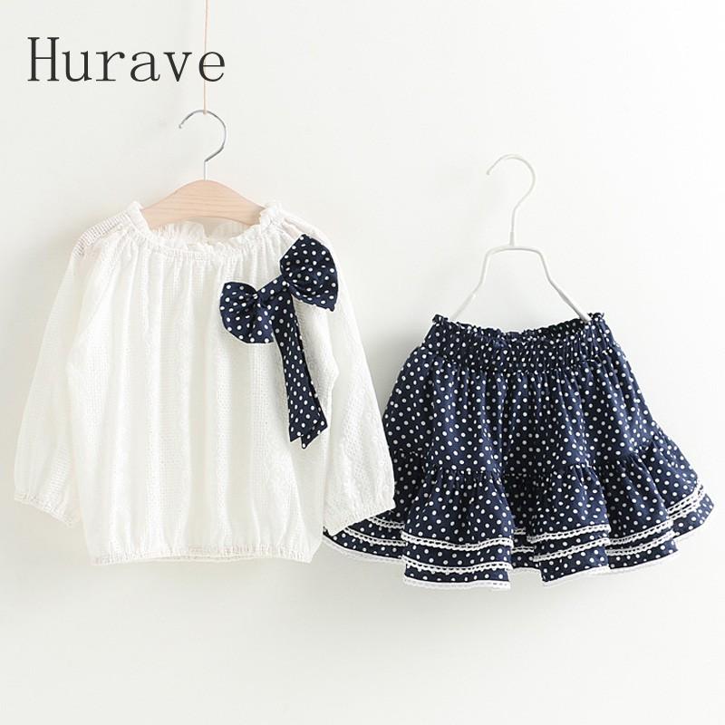 Hurave Fashion girls dress girl clothing set spring kids bow clothes toddler infantil summer casual polka dot sets 2016 retailer summer sleeveless tshirt and pant clothing set fashion kids casual summer clothes kid dress fashion clothes