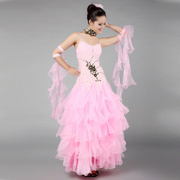 Modern dance dress luxury Ballroom Dance Costume pendant cuff Multi-layers dress