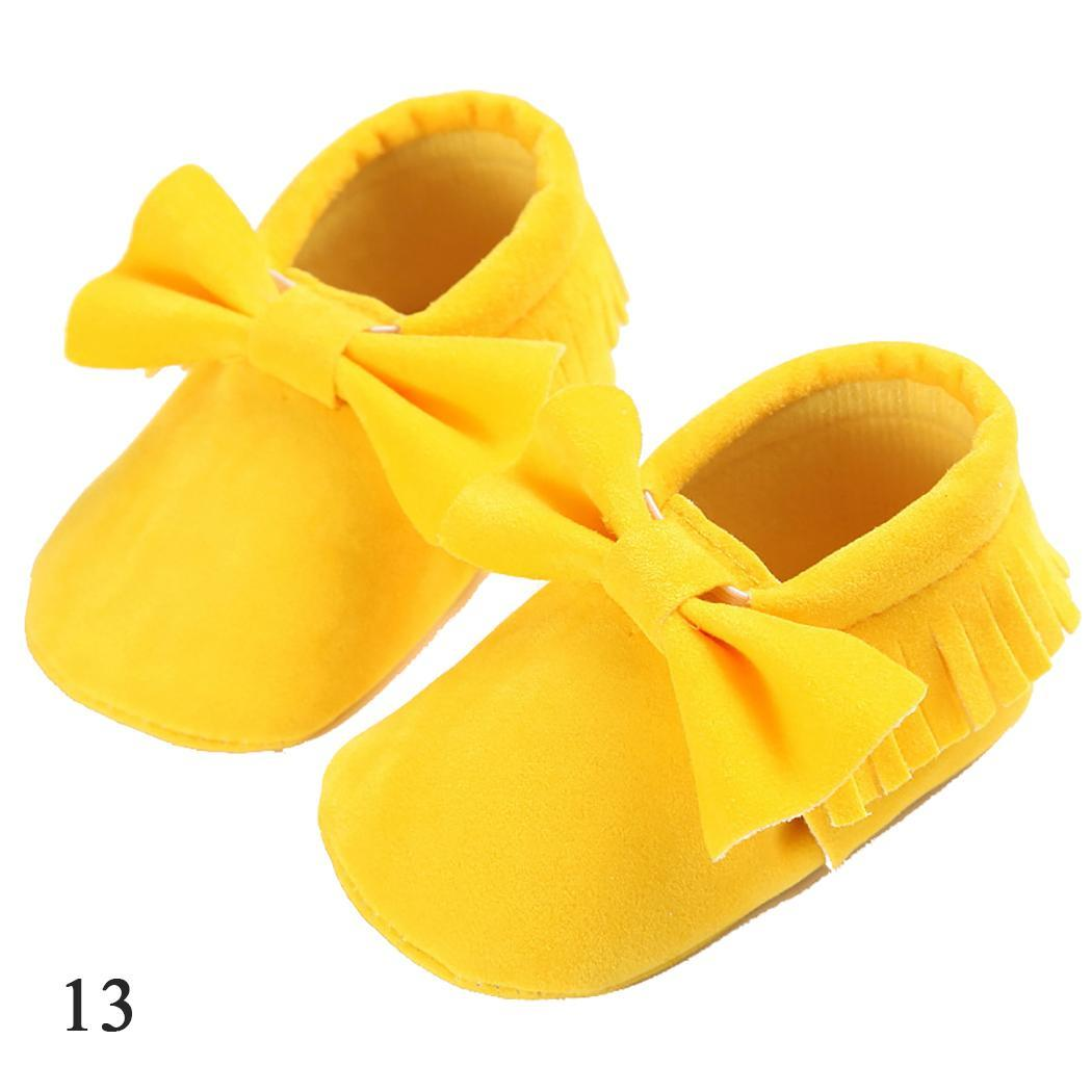 Walkers Shoes Fringe Newborn Girls Baby Slip-On Bow Rubber Casual Solid Cotton All-Seasons