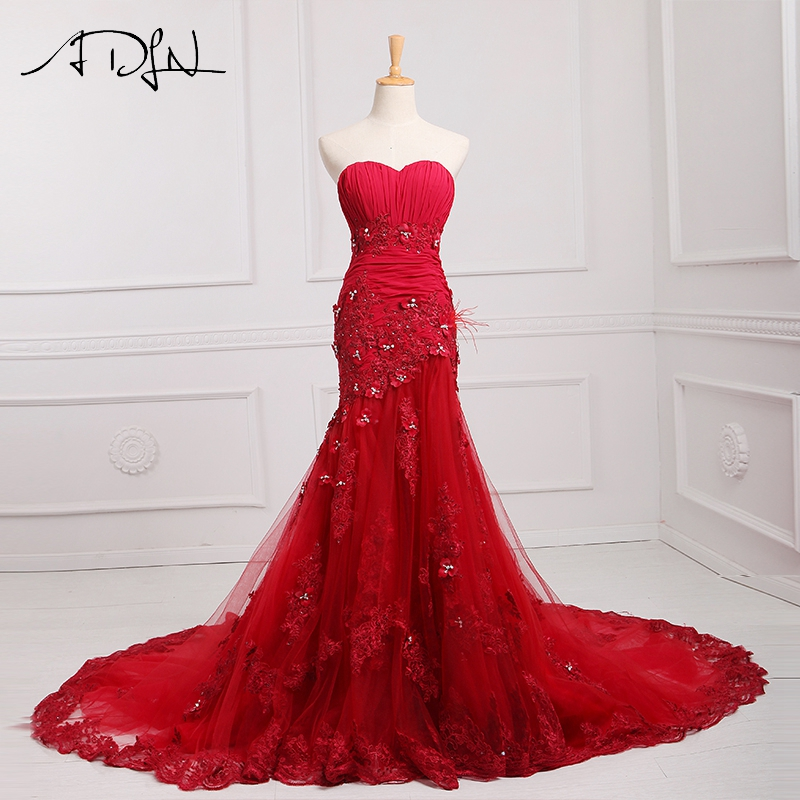 ADLN Custom Made Mermaid Red Wedding Dress Corset Lace Colored Bridal Gown with Robe de Mariage