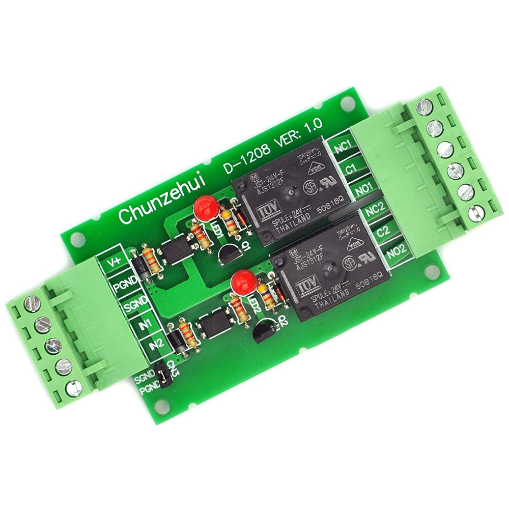 Electronics-Salon DC 24V Two Channel 10Amp Opto-Isolated Power Relay Module Board, Pluggable Terminal Block.