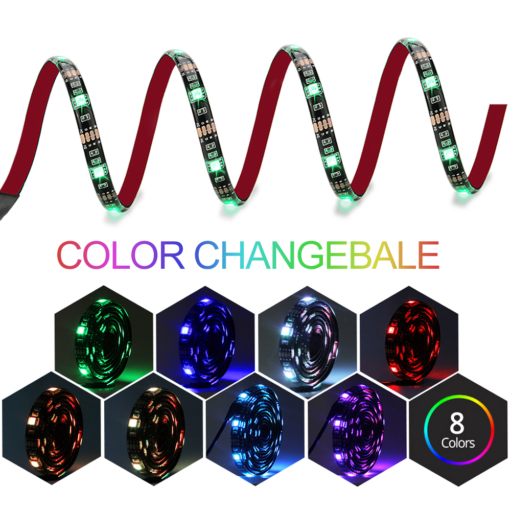 DC5V USB LED-stripe 5050 RGB Fleksibel Light 1M 2M TV - LED-belysning - Bilde 2