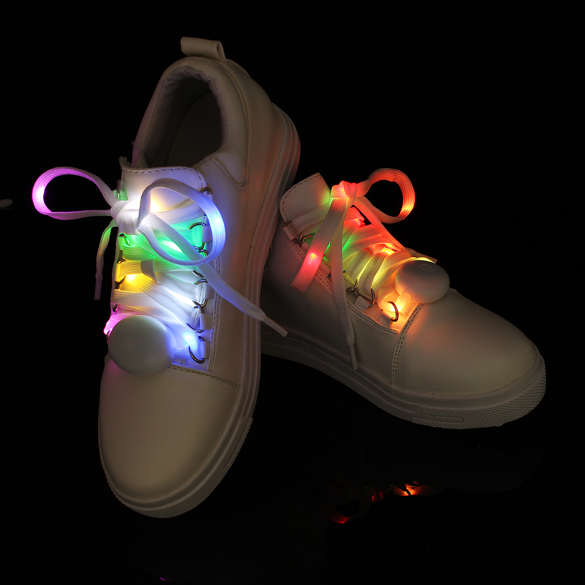 BSAID1 Pair 125cm Halloween LED Glowing Shoelaces, Multicolor Flashing Luminous Shining Sneaker Shoelaces Outdoor Fashion Shoes pair of creative luminous led flashing gloves for party ball festival