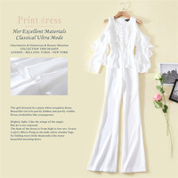 All White Elegant Women Jumpsuits 2018 Spring Ruffles Sequins Embroidered Long Pants Jumpsuits Runway Brand Style