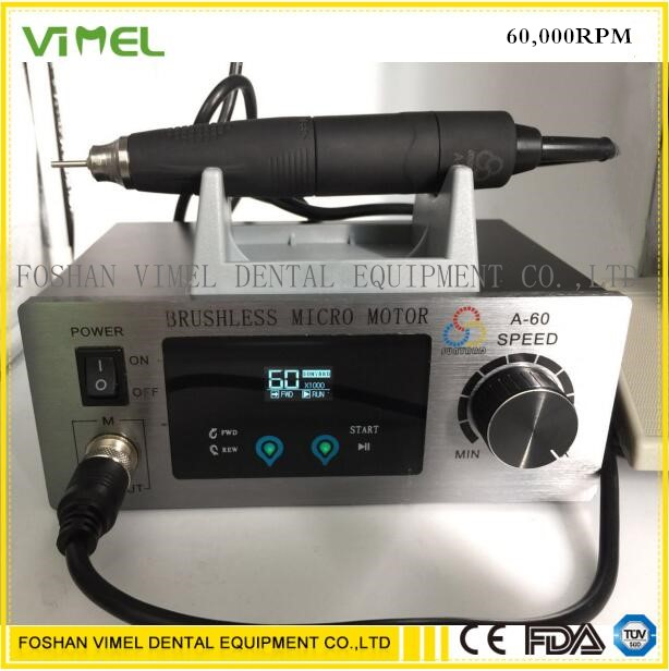 60 000 RPM Non Carbon Brushless Aluminium Shell Dental Micromotor Polishing Unit with lab handpiece dental