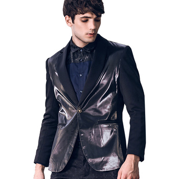 Fanzhuan New free shipping casual male MEN'S Long sleeved personality man small suit PU leather stitching slim blazer 810048