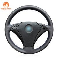 MEWANT Black Artificial Leather Car Steering Wheel Cover for BMW 530 523 523li 525 520li 535 545i E60
