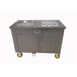 R410A pojedyncza patelnia smażone lody maszyna na pyszne owoce sok lody rolki podejmowania 220V50Hz z ekranem akrylowym