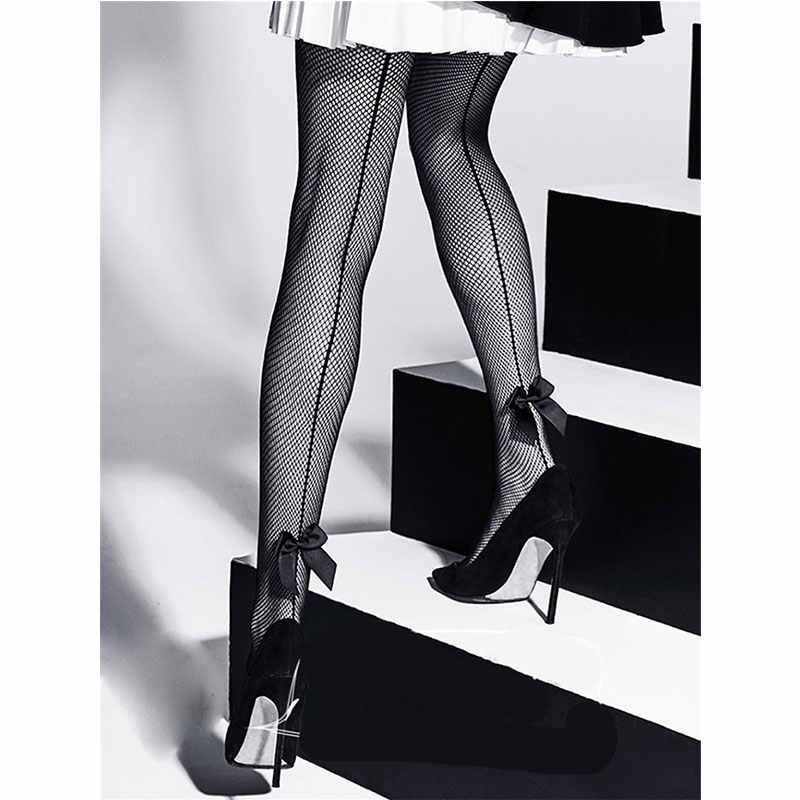 Sexy Fishnet Stockings Sexy Women Tights Women Stockings Cuban Back Line With Bow Lingeire Stocking Pantyhose Female Hosiery