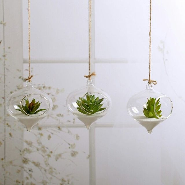 Fashion Transparent Home Garden Clear Glass Flower Plant Stand Hanging Vase Planter Terrarium Container New Home Office Decor 2
