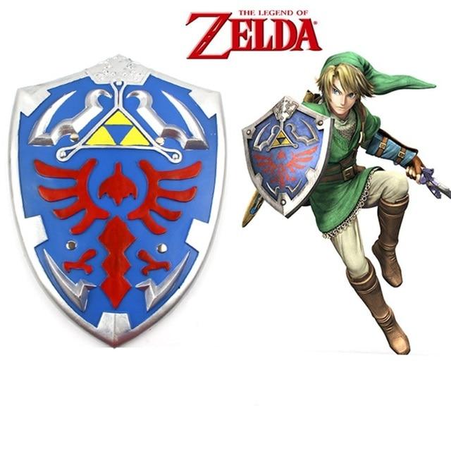 The Legend of Zelda Link Shield Blue Silver Cosplay Prop 34*45cm PU Game Around