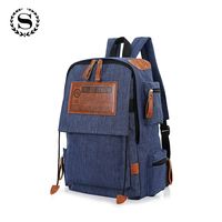 SCIONE Brand New Women Man Canvas Backpack Zipper Schoolbag For Teenagers Girls Solid Large Capacity Laptop