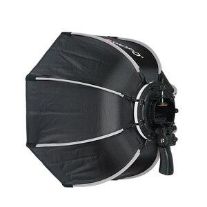 Image 4 - TRIOPO 55cm 65cm 90cm מתקפל אוקטגון Softbox סוגר/Bowns הר רך תיבת ידית עבור Godox Yongnuo speedlite פלאש אור