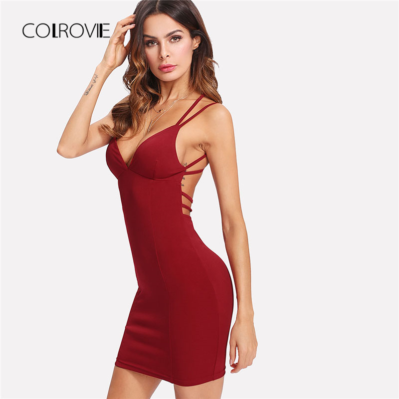 Detail Feedback Questions about COLROVIE Strappy Backless Fitted Cami Dress  2018 New Summer High Waist Backless Dress Sleeveless Sexy Woman Dress on ... afe074d6d831