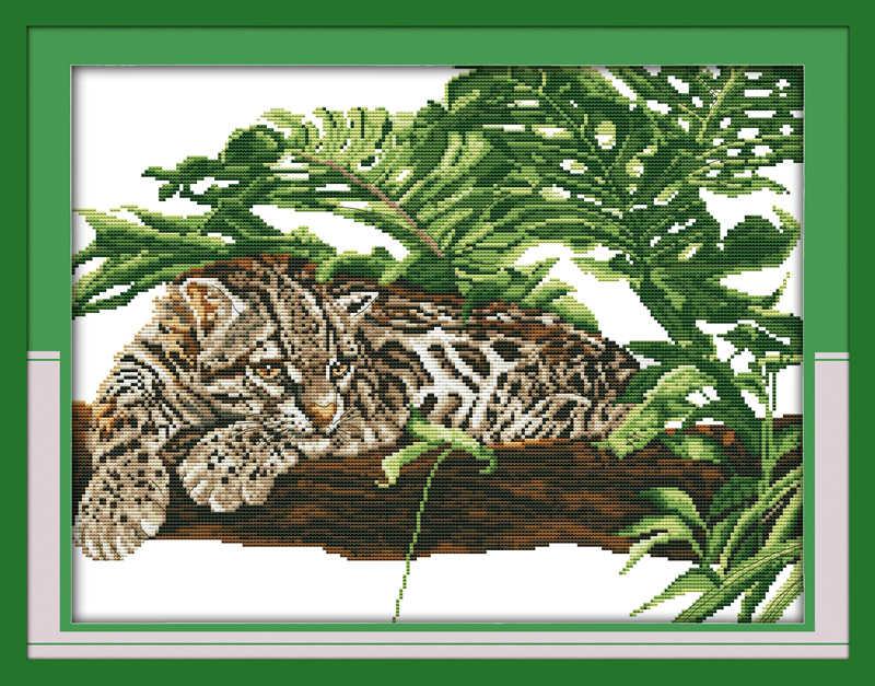 Африканский тигр на дереве Картина home Decor Счетный Печать на холсте наборы картин вышивка DMC 11CT 14CT крестом наборы для рукоделия