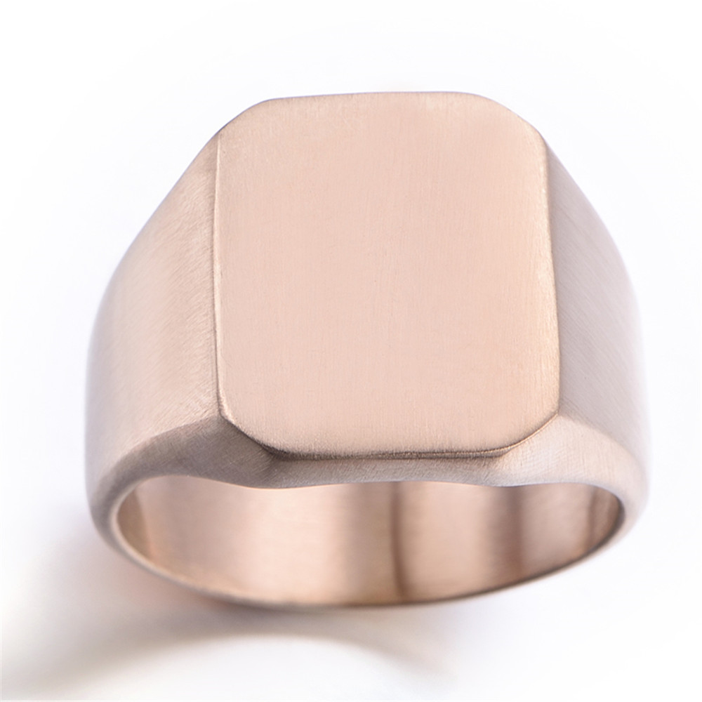 Stainless Steel Square Matted Finish Mens Ring, Black, Silver, Rose ...