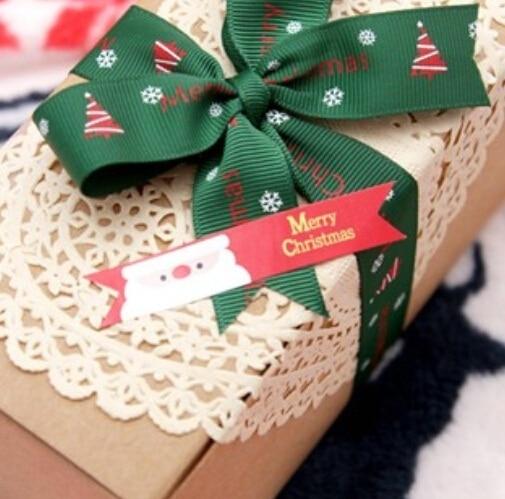 120pcs/lot Vintage Merry Christmas Flag Design DIY Multifunction Long Seal Sticker Gift Sticker Gift Label