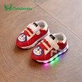 Claladoudou 0-2года Baby Shoes Boy Мягкой Подошвой Малышей Прогулки Свет Up Shoes Красный Розовый Черный Кроссовки Для Девочек Младенческой Shoes
