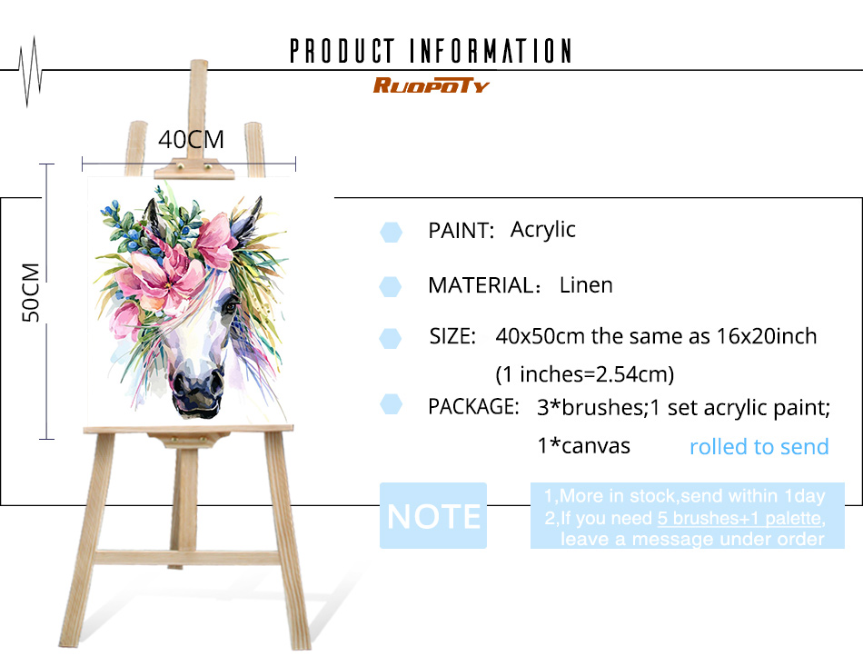 HTB16LwrblCw3KVjSZFuq6AAOpXai RUOPOTY Frame Flower Horse DIY Painting By Numbers Kit Animals Acrylic Paint By Numbers For Adult Unique Gift Home Decors Arts