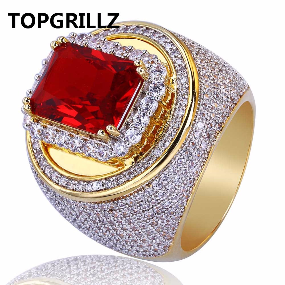 TOPGRILLZ Hip-Hop Classic Gold Color Plated Cubic Zircon Big Red Stone Ring Personality Fashion Men Women Jewelry Lover Gift one piece simple gold plated fashion alloy rhinestone ring for men