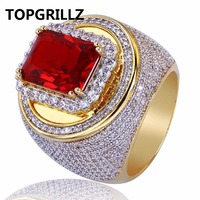 TOPGRILLZ Hip Hop Classic Gold Color Plated Cubic Zircon Big Red Stone Ring Personality Fashion Men Women Jewelry Lover Gift