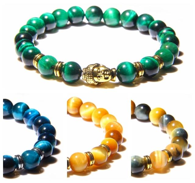 vinswet Buddha head charm bracelet Men 8mm tiger eye Stone